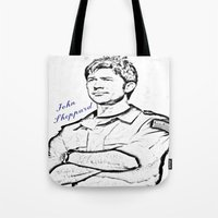 stargate Tote Bags featuring John Sheppard by Samy