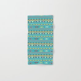 Geometrical teal orange colorful tribal aztec Hand & Bath Towel