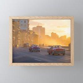 Classic American cars during sunset in Havana | Cuba travel photography Framed Mini Art Print