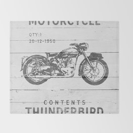 Vintage Triumph Thunderbird Motorcycle Throw Blanket