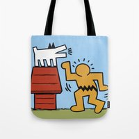 keith haring Tote Bags featuring Keith Haring + Charles Schulz by Jared Yamahata