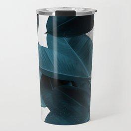 Indigo Blue Plant Leaves Travel Mug
