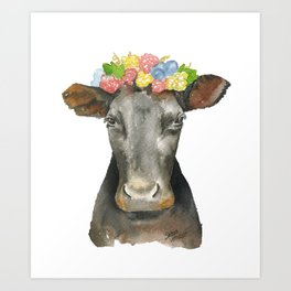 Black Cow with a Floral Crown Art Print