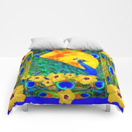 YELLOW HIBISCUS FULL GOLDEN MOON  BLUE PEACOCKS Comforters