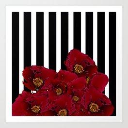 Poppy Stripes - Red Art Print