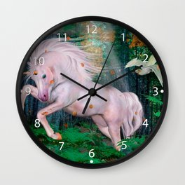 Unicorn Wood Forest Magic Stars Autumn Bird Wall Clock
