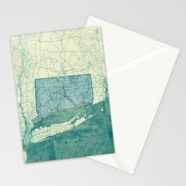 Connecticut State Map Blue Vintage Stationery Cards