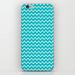 Teal Turquoise Blue Chevron Zigzag Pattern iPhone Skin