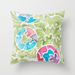 Trinity Green Blue Pink  | 190112 Watercolor Abstract Painting Throw Pillow