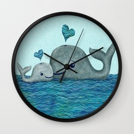 Whale Mom and Baby with Hearts in Gray and Turquoise Wall Clock