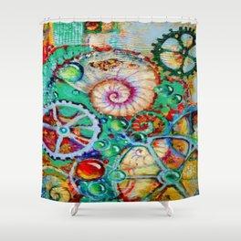 SURREAL SHELL & CLOCK WORK BUBBLES ART Shower Curtain