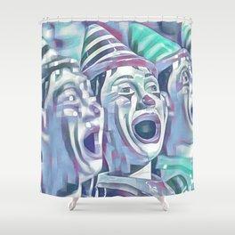 Clown Class (blocked blue & cyan) Shower Curtain