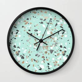 Glitter and Grit Marble Mint Green Wall Clock