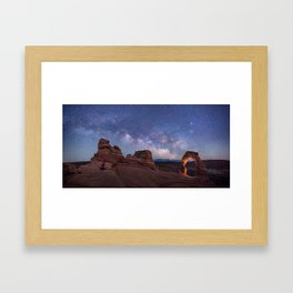 Delicate Arch Under the Starry Sky in Arches National Park Panorama Framed Art Print