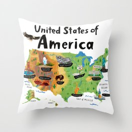 Map of USA Throw Pillow