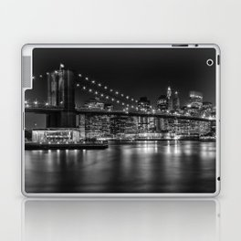 MANHATTAN SKYLINE & BROOKLYN BRIDGE Nightly Impressions | Panoramic Monochrome Laptop & iPad Skin