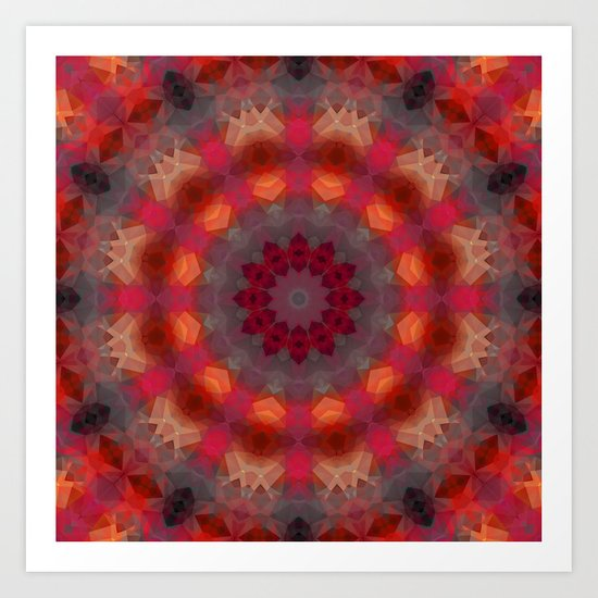 Colorful ethnic round pattern . Kaleidoscope. Art Print