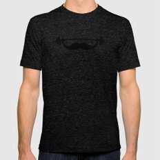 Minimal Funny Fitness Mustache / Beard Tri-Black Mens Fitted Tee X-LARGE