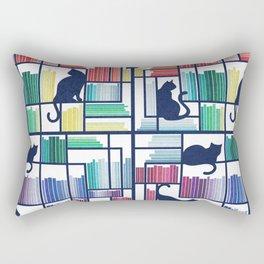 Rainbow bookshelf // white background navy blue shelf and library cats Rectangular Pillow