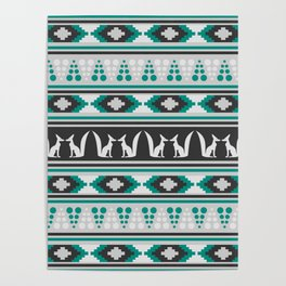 Ethnic pattern with foxes Poster
