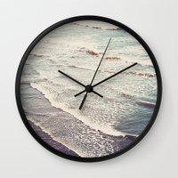 waves Wall Clocks featuring Ocean Waves Retro by Kurt Rahn