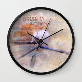 Lucky the White Squirrel It's Monday Start Your Engine Wall Clock