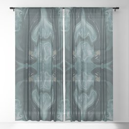 Abstract Fractal in Green Sheer Curtain