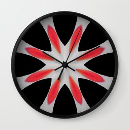 Simple Red and Black Flower Abstract Design Wall Clock