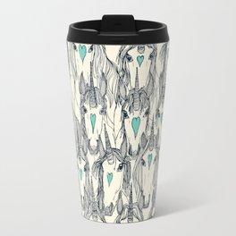 unicorn love indigo mint pearl Travel Mug