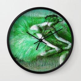 Degas The Dancer Green Wall Clock