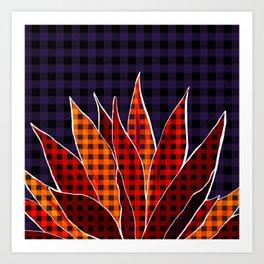 Agave Cactus Warm Autumn Plaid Art Print