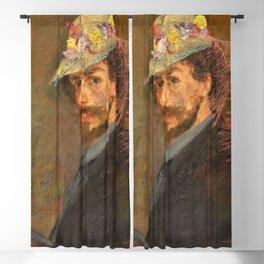 Self-portrait with flowered hat - James Sidney Edouard Baron Ensor Blackout Curtain