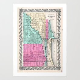 Vintage Map of Chicago IL (1855) Art Print