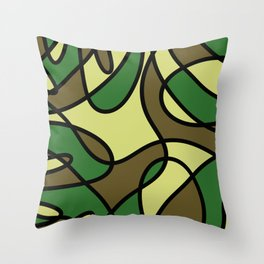 Camo Curves - Abstract, camouflage coloured pattern Throw Pillow