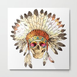 Hand Drawn Color Native American Indian Headdress With Human Skull And Fashion Sunglasses. Sketch Hipster Boho Illustration With Indian Tribal Chief Feather Hat, Skull, Spectacles Metal Print