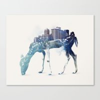 city Canvas Prints featuring City Deer by Robert Farkas