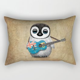 Baby Penguin Playing Turks and Caicos Flag Guitar Rectangular Pillow