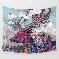 deer Wall Tapestries featuring Journeying Spirit (deer) by Mat Miller