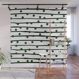Modern black forest green polka dots stripes Wall Mural