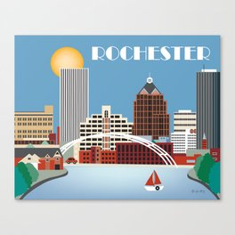 Rochester, New York - Skyline Illustration by Loose Petals Canvas Print