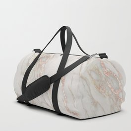 Marble Rose Gold Blush Pink Metallic by Nature Magick Duffle Bag