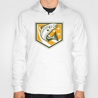 trout Hoodies featuring Trout Jumping Retro Shield by patrimonio