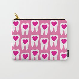 Teeth pattern with hearts in the center on pink background Carry-All Pouch