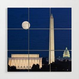 Harvest Moon rising over Washington DC Wood Wall Art