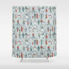 vintage ski linen Shower Curtain