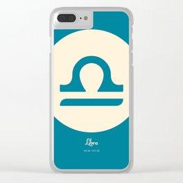 Libra Symbol Blue Clear iPhone Case