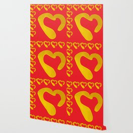 Gold Hearts on Red Wallpaper