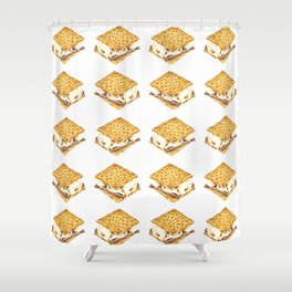 Delicious Watercolor Illustration S'more Pattern Shower Curtain