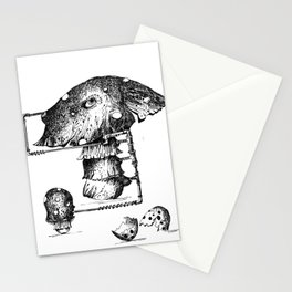 Funy Mushroom Mother Breastfeeding Her Newborn Daughter After Exiting The Egg Grphc Stationery Cards