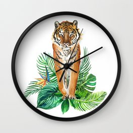 watercolor illustration of a tropical laves and Tiger Wall Clock